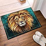 lijied Home Decoration 15.7x23.6 Inches Bath Rugs, Golden Lion, Skidproof Floor Entryways Outdoor Indoor Front Door Mat Area Rugs doormats Online