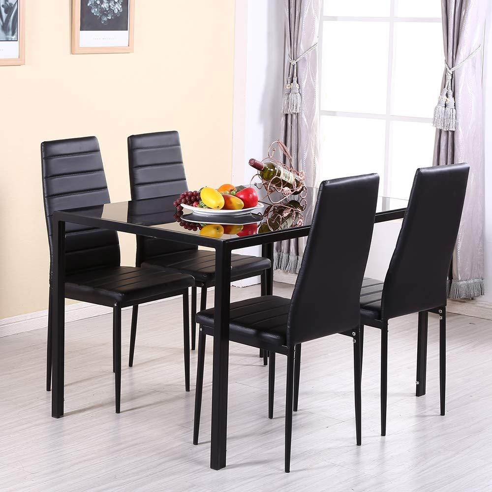 Tavolo Vetro Sala Da Pranzo.Moderno Set Di Mobili Per Sala Da Pranzo Tavolo Rettangolare Nero In Vetro Temperato E 4 6 Sedie Con Schienale Alto In Ecopelle Nera 1 Table 4 Chairs