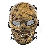 CQJDG Outdoor Full Face Mask-Maschera protettiva teschio, scheletro, per Airsoft, BB/CS-Gioco e Party