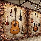 Kuamai Personnalisé Nostalgique Mur De Briques Personnalité Guitare Thème De La Musique Barre D'Outillage Fond D'Écran 3D Pierre De Brique-208X146Cm