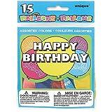 Unique Party - 5160 - Paquet de 15 Ballons Anniversaire - Happy Birthday - Coloris Aléatoire