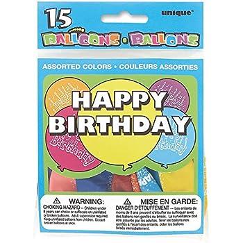 Unique Party Joyeux Anniversaire Party Supplies - 5160 - Paquet de 15 Ballons Anniversaire - Happy Birthday - Coloris aléatoire