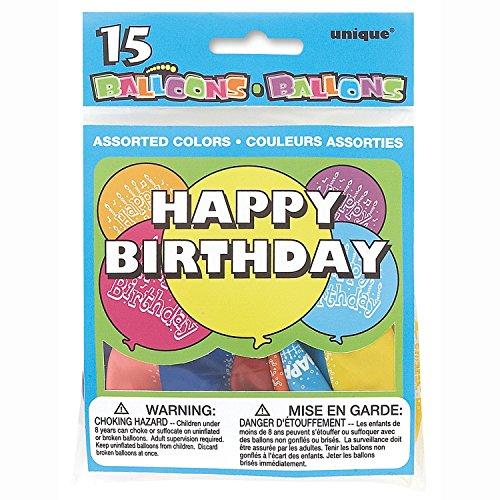 Unique Party - 5160 - Paquet de 15 Ballons Anniversaire - Happy Birthday - Coloris Aléatoire 0011179051601