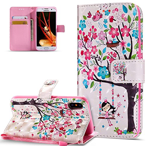 HMTECH iPhone XR Hülle Luxus 3D Süßes Mädchen Bunte Blumen Flip Standfunktion Karten Slot Magnetverschluß Brieftasche Taschen Schalen Handy für iPhone XR,Swing Girl Colorful Flower KT