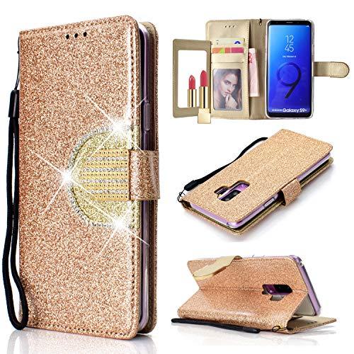 Yobby Glitzer Strass Leder Brieftasche Hülle für Samsung Galaxy S9 Plus, Mode Gold Handyhülle mit Spiegel Flip Magnetisch Stand Schutzhülle mit Karte Schlüssel und Handschlaufe