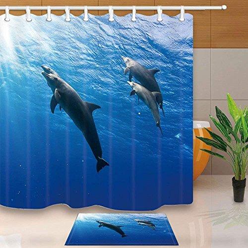 CDHBH Ocean Tier Duschvorhang durch Delfine Schwimmen im Meer 180,3x 180,3cm Schimmelresistent Badezimmer-Sets mit Vorhang für die Dusche und Teppiche und Zubehör (Dusche Vorhang Badezimmer-set)