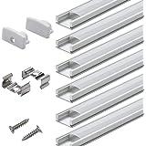 Profilé Aluminium LED - 6x1mètre Aluminium Profilé U-forme pour Bandes à LED, Compact Finition Professionnelle avec Blanc Lai