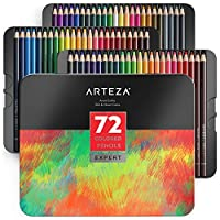 Arteza Colouring Pencils, Professional Pack of 72 Colours, Soft Wax-Based Cores, for Drawing Art, Sketching, Shading & Coloring, Vibrant Artist Pencils for Beginners, Adults, Pro Artists in Tin Box