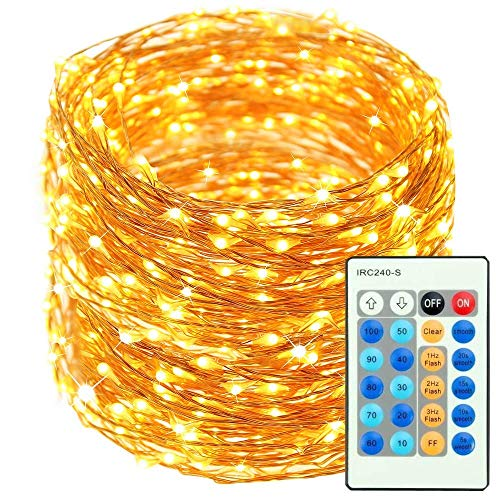 Extra Long 165ft/50M 500 LEDs Copper Wire String Lights Dimmable with Remote Control, Waterproof Fairy Lights for Outdoor/Indoor Decorative, Patio,Garden,Party,festival, Room,Wedding (Warm White)