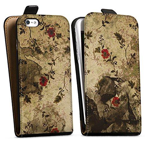 Apple iPhone X Silikon Hülle Case Schutzhülle Vintage Muster Blumen Downflip Tasche schwarz
