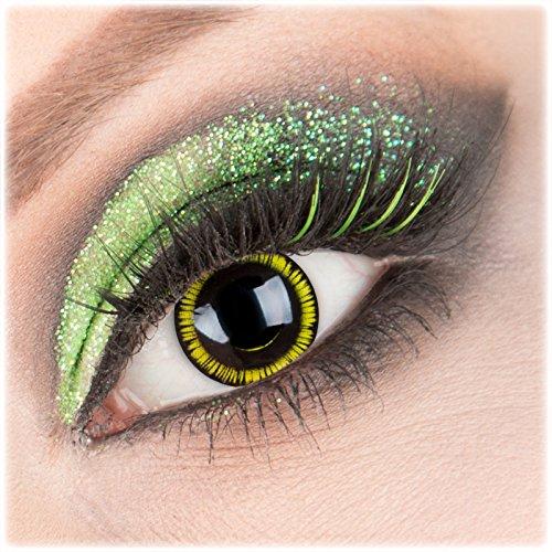 Farbige schwarze gelbe 'Black Zombie #438' Kontaktlinsen 1 Paar Crazy Fun Kontaktlinsen mit Behälter zu Fasching Karneval Halloween - Topqualität von 'Giftauge' ohne (Zombie Gelbe Kostüme Kontaktlinsen)