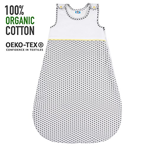 Baby Schlafsäcke,  Größe 130cm (3-6 Jahre), Biobaumwolle, Chemikalienfrei, Sweety Fox - kuscheliger Babyschlafsack mit geschütztem Reißverschluss - Französisches Design - Unisex Baby Schlafsack, Grau Baby Stars