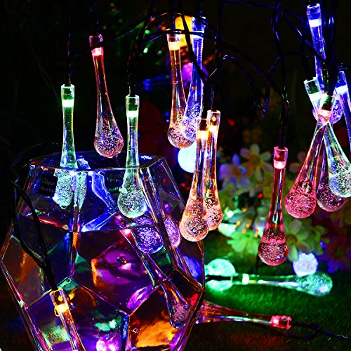 Solar Lichterkette, YUNLIGHTS 6.5 M 30 LED Wasserfeste Wassertropfen Lichter mit 8 Moden, Ssolarbetriebene Outdoor Lichter für Weihnachts- oder Partydekorationen (Mehrfarbig)