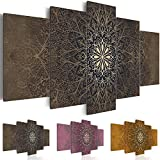 Cuadro 100x50 cm - 3 tres colores a elegir - Impresion en calidad fotografica - TOP - tejido-no tejido Lienzo - 5 Partes - Cuadro - Cuadro � Mandala Ornamento f-A-0515-b-n 100x50 cm B&D XXL