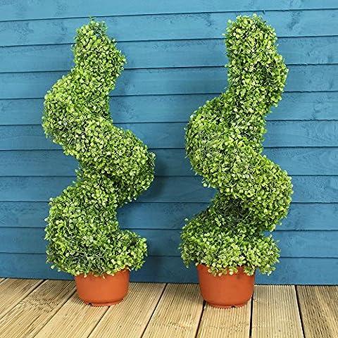 Par de espiral de Topiary Artificial árboles/arbustos 80cm Alto (apto para uso interior y exterior)