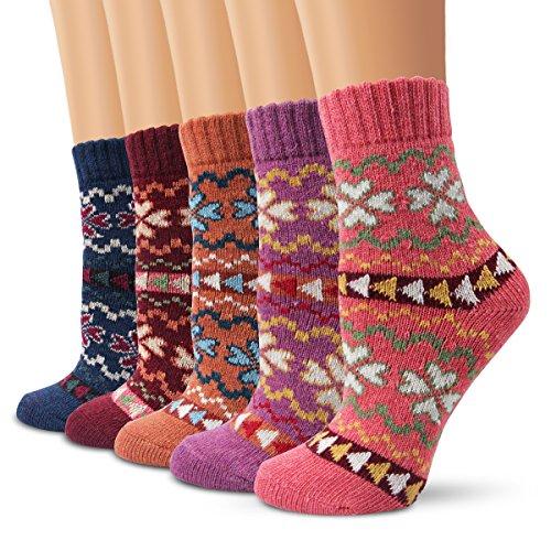 Wollesocken Damen Socken, Moliker Winter Socken 5 Paar atmungsaktiv warm weich bunte Farbe Premium Qualität klimaregulierende Wirkung (5002)