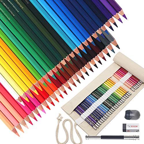 52 Pack Lápices de Colores (48 Unidades) Lapicero para Colorear con Bolsa Enrrollable Portátil de Lona Sacapuntas Borrador y Mango Extensible de Lápiz