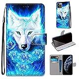 Miagon Flip PU Leder Schutzhülle für iPhone 11 Pro Max,Bunt Muster Hülle Brieftasche Case Cover Ständer mit Kartenfächer Trageschlaufe,Rose Wolf -