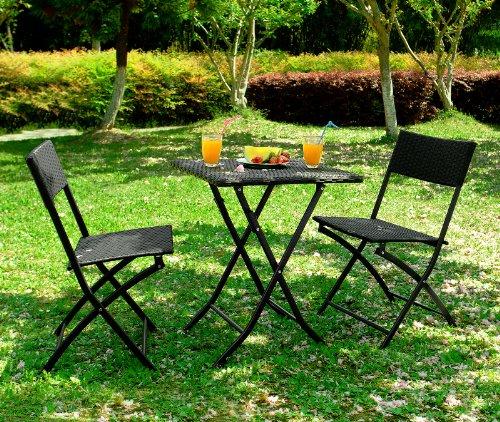 Outsunny - Set Mobili da Giardino in Poly Rattan 3pz Set Tavolo e 2 Sedie da Giardino Pieghevole Nero