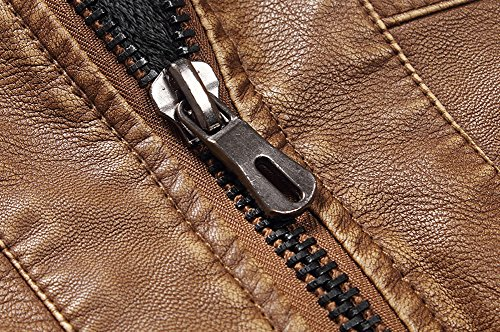 URBANFIND da uomo Slim Fit, in pelle sintetica, stile Vintage, Giacca da moto resistente Nero