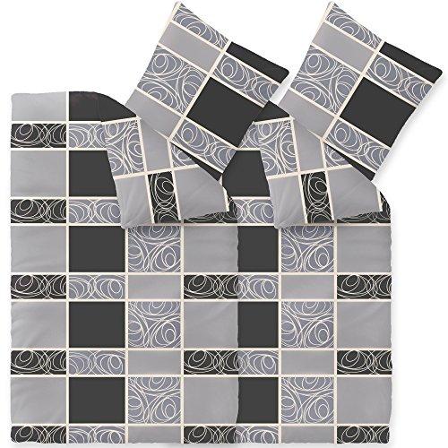 Warme Flausch Winter-Bettwäsche Mikrofaser Fleece 4-tlg. | verschiedene Größen | kuschelig flauschig 135 x 200 cm | Style Denise | gestreift gemustert grau schwarz | CelinaTex 003833