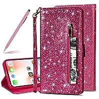 """SKYXD Glitter Reißverschluss Brieftasche Hülle für iPhone XR, Stilvoll Luxus Bling Strass Wallet Stoßdämpfende Multifunktion Magnetisch Etui für iPhone XR 6.1""""(Rose Rot)"""