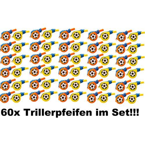 60x Kinder Trillerpfeife Signalpfeife mit Band Fussball Mitgebsel Tombola Party
