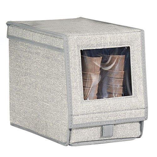 Mdesign scatola porta scarpe in tessuto (media) – scatole per scarpe impilabili con finestra trasparente, velcro e coperchio incernierato – grigio