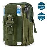 Bapack Taktische Hüfttaschen, Molle Tasche Gürteltasche 1000D, Hüfttasche Beintasche Multifunktionstasche mit Aluminium Karabiner, für Outdoor Wandern Camping Radfahren Angeln-Great-Grün