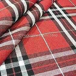 Escocés rayas Tartan como patrón diseño calidad Chenille tela de tapicería de color rojo Ideal para cojines sofás cortinas muebles hogar