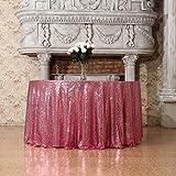 3E Home, tovaglia rotonda con lustrini, per feste e per esposizione torte e dessert , Poliestere, Fuchsia Pink, 50'Round