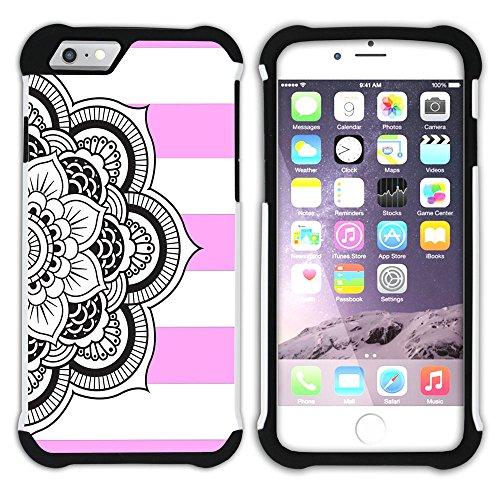 Graphic4You Mandala Blume Linien Muster (Wasserblau) Hart + Weiche Kratzfeste Hülle Case Schale Tasche Schutzhülle für Apple iPhone 6 Plus / 6S Plus Hell-Pink