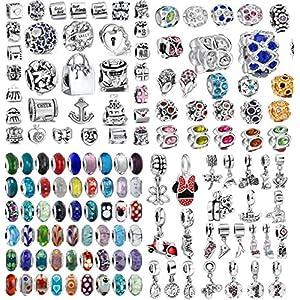 Akki Beads Angebot Set 25stück Murano Glasperlen Glas Türkis Blau Silber Rot Lila Rosa Farbe Bead Element passend kompatibel mit Pandora Kette Armbänder Kult Bead Beads Schmuck