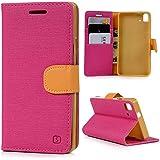 bq Aquaris E5s,bq Aquaris E5 4G LTE Funda Libro de PU Leather Cuero - Mavis's Diary Funda para móvil Carcasa Con Flip case cover,Cierre Magnético,Función de Soporte,Billetera con Tapa para Tarjetas-Color de Rose Red