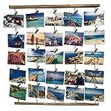 Uping Hangit Fotowand Bilderrahmen Collagenbilderrahmen Fotoleine Collage Bilder Fotorahmen Holzbilderrahmen in Wäscheleinenoptik mit 30 Holzklammernund 5 Hanfseil