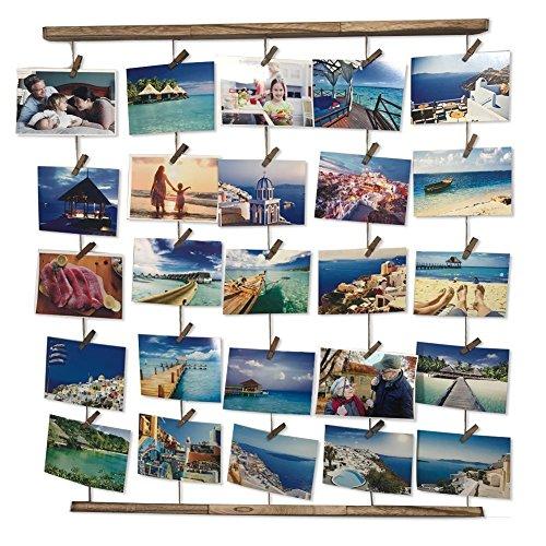 Uping Hangit Fotowand Bilderrahmen Collagenbilderrahmen Fotoleine Collage Bilder Fotorahmen Holzbilderrahmen in Wäscheleinenoptik mit 30 Holzklammernund 5 Hanfseil (Bilderrahmen Machen Sie Ihre Eigenen)