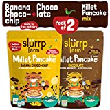 Slurrp Farm Instant Breakfast Millet Pancake Mix, Banana Choco-Chip, Supergrains And Chocolate, Natural And Healthy Food, 150g (Pack Of 2)