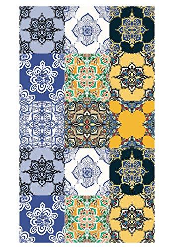 Huella deco Alfombra Bañada en Vinilo Azul/Amarillo 70 x 40 cm
