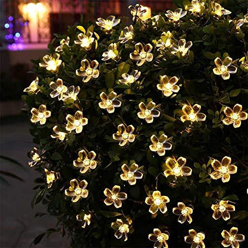 SHELLTB Solar Lichterketten Wasserdichte Weihnachten Lampe 21ft 50 LED Blume Blüte Dekoratives Licht für Outdoor Indoor Garten Terrasse Party Weihnachtsbaum Dekorationen,Warmwhite (578 Led-lampe)