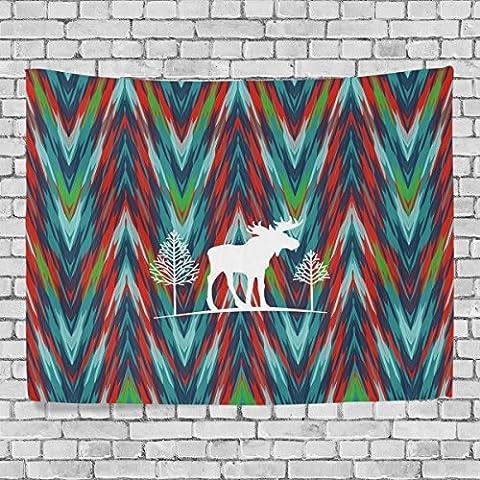 welllee Merry Christmas Wand Wandteppich, grün Classic Tie Dye Mandala Elk, werfen Home Decor Wandteppich für Schlafzimmer oder Wohnzimmer, 60x 40(in), Textil, blau, 80x60(in)