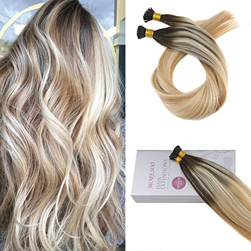 Moresoo 16 Pouce 1 G/S 50 Strands Extension Keratine Itip Hair Extensions Brun Foncé #2 Fading to Caramel Blonde #27 Surligné avec Bleach Blonde #613 Straight Hair Extension Natural Human Hair
