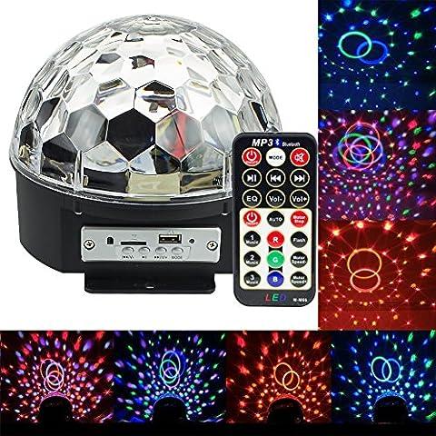 IVIDZ Rotation Strobe Bluetooth éclairage de scène MP3, Disco Musique de scène LED RGB Crystal Ball magie avec haut-parleurs et des capacités sans fil et une télécommande (KTV, Fêtes de Noël, Fêtes, Mariages, Clubs, Bars, Discothèques, Dj)