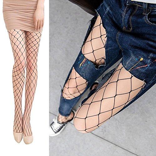 GeetaLaxmi Women\'s High Waist Sexy Lace Fishnet Lingerie Stockings Medium Mesh Black Free Size