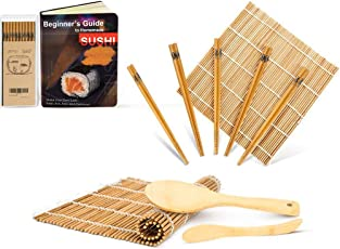Bambus Sushi Matte, karbonisierte Sushi Rollmatte für Schimmel-resistent, Anfänger Sushi Kit, enthält 2 Rollmatten - 5 Paar Essstäbchen - Paddle - Spreader – Anleitung(PDF) für Anfänger, Rollen weiter!