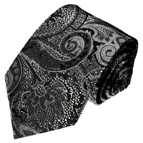 LORENZO CANA - exklusive Seidenkrawatte - Silber Grau silbergrau schwarz Paisley - Krawatte aus 100% Seide - 36038 (Karo-paisley-krawatte)