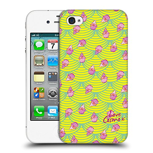 Official Cosmopolitan Black And Yellow Totally 80S Hard Back Case for Apple iPhone X Cupcakes And Scallops