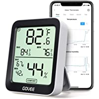 Govee Room Thermometer Hygrometer, Digital Accurate Indoor Temperature Humidity Sensor with Smart Alert, LCD Bluetooth Temp Humidity Monitor with Data Storage for House Garage Wine Cellar Greenhouse
