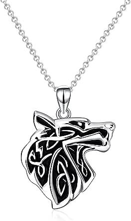 Collana con lupo celtico in argento Sterling 925, regalo di compleanno per fidanzato, uomo e donna, 55,9 cm