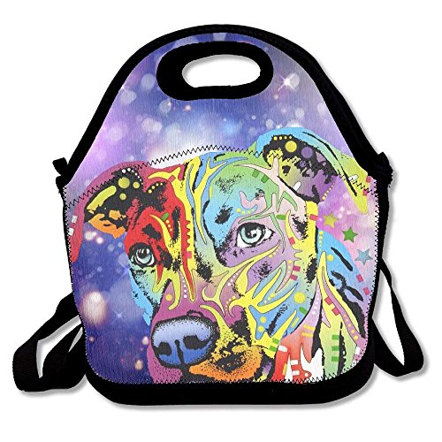 Neon Pitbull Colorful Dog Face Lunch Bags Insulated Travel Picnic Lunchbox Tote Handbag with Shoulder Strap for Women Teens Girls Kids Adults Freezable Ice Pack