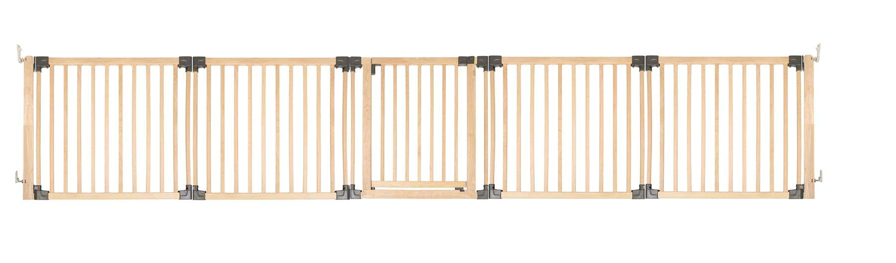Safetots Wooden Multi Panel Room Divider Up to 416.5CM Safetots Made from premium grade wood designed to compliment all home interiors Each panel can be angled as required to make custom fit room dividing configurations This configuration comes complete with a wall mounting kit, one 80cm gate panel and four 80cm extension panels 1